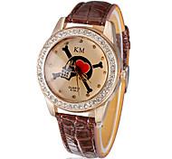 Diamante Teschio della donna e del modello del cuore Dial pu banda quarzo analogico orologio da polso (colori assortiti)
