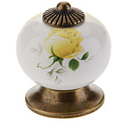 Ceramic Ternate Yellow Rose Button Drawer Handle