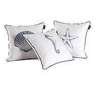 Set of 3 Sea World Cotton Embroidered Decorative Pillow Cover