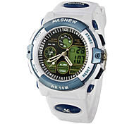 Men's Multi-Function Analog-Digital Dial Rubber Band Quartz Wrist Watch (White)