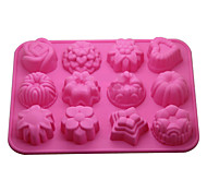 12-in-1 Soft Rubber Cake / Bread / Mousse / Jelly / Chocolate Mold(Random Color)