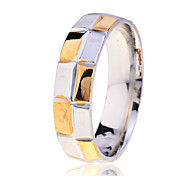 Fashion Men'S Two-Tone Lattice Pattern Stainless Steel Ring