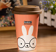 Cartoon Rabbit Mug with Flexible Glue Cover Cup
