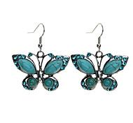 Green Butterfly Drop Earrings