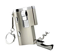 Cool Windproof Gas Lighter with LED Light/UV Lamp / Bottle Opener /Keychain (Random Color)