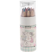12pcs Flower Pattern Wooden Colored Pencil with Pencil Sharpener