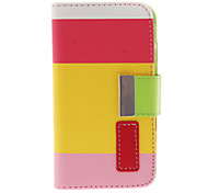 Bright Colorful Fresh Style PU Leather Flip-Open Case with Card Slot, Stand and Strap for iPhone 4/4S