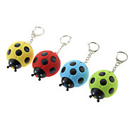 Plastic Seven-spotted Ladybug Shaped Keychain with LED & Voice (Random Color)