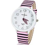 cadran rond motif rayé PU bande de quartz analogique montre-bracelet des femmes (couleurs assorties)