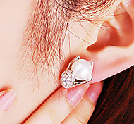 Japanese and Korean fashion fine jewelry with beads temperament diamond earrings Lily E462
