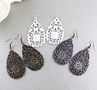 Alloy Hollow Water-Drop Earrings