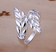 Silver Feather Pattern Ring