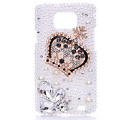 Heteromorphism Diamond Pearl Crown Terug Case voor Samsung Galaxy S2 I9100