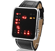 Unisex LED Binary System Display Black PU Leather Wrist Watch Cool Watch Unique Watch