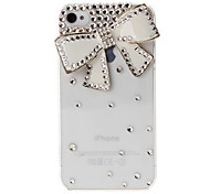 3D Bow Pattern Diamond Crystal Plastic Case for iPhone 4/4S