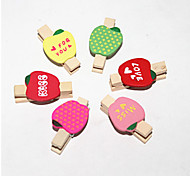 Cute Wooden Apple Pattern Clip Set(6PCS)