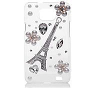Eiffel Tower Pearl Flower Back Case for Samsung Galaxy S2 I9100