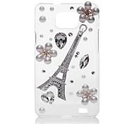 Eiffelturm-Perlen-Blumen zurück Fall für Samsung Galaxy S2 I9100