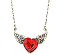 Z&X®  Retro Angel Wings Heart Pendant Necklace Bronze