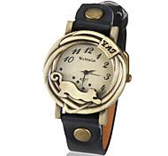 vrouwen vintage luipaard kader pu band quartz analoog horloge (verschillende kleuren)
