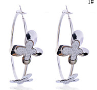 Lureme®Glitter Butterfly Hoop Earrings