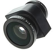 Kit 3-in-1 di obiettivi in stile macchina fotografica, Fish Eye a 180 gradi, grandangolo e lente macro, per iPhone 5 e altri cellulari