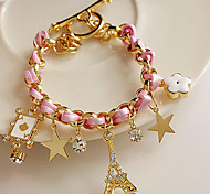 Z&X® Stars flowers hearts poker leather cord Eiffel Tower crystal bracelet