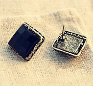 Women's Korean Fashion Simple Black Box Earrings