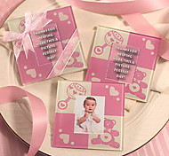 Cute Baby Bear Coaster (Baby Pink)