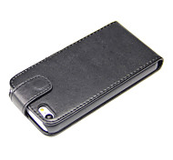 PU Leather Flip Cover Case for iPhone 5S-Black