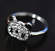 Women's Korean Shiny Red Panda Full Diamond Ring