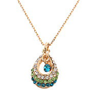 Hollow Diamond Drop Gold Necklace