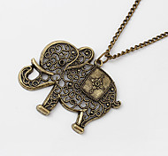 European Style Hollow Elephant Coppery Alloy Pendant Necklace