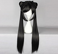 Pelucas de Cosplay Cardcaptor Sakura Li Meiling Negro Largo Animé Pelucas de Cosplay 80 CM Fibra resistente al calor Mujer
