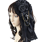 Handmade Dark Rose Black Lace Cotton Gothic Lolita Headpiece with Cross