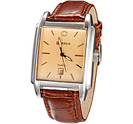 Men's Calendar Function Rectangle Case Leather Band Quartz Analog Wrist Watch (Assorted Colors) Cool Watch Unique Watch