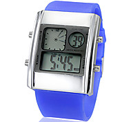 Unisex Dual Time Alloy LED Digital Dial Silicone Band Wrist Watch (Assorted Colors)
