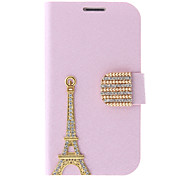 Silk Print and Eiffel Tower Painting Pattern Rhinestone Protective Pouches for Samsung Galaxy S3 I9300