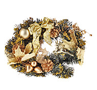 Golden Shiny Sequin Wreath with Balls, Reindeer, Pine Nuts and Bowknot