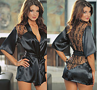 Black Lace Satin Robe Women's Night Sleepwear