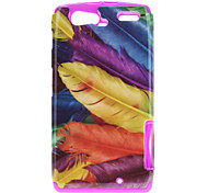 Colorful Feather Pattern TPU Material 2-In-1 Back Case for MOTO XT910/XT912