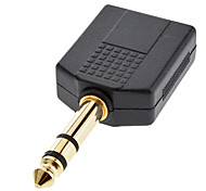 6.35mm Stereo Male to 2 Female Adapter Black for Musical Sharing