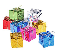 "9-Pack 5cm 2"" Shiny Gold Gift Box Christmas Ornaments"