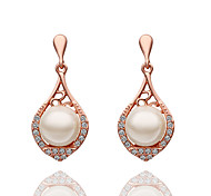 mitation Pearl 18K Platinum Plated Earring