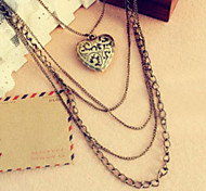 Multilayer Heart-Shaped Pendant Necklace
