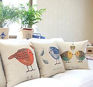 Juego de 3 País Birds encantadora del algodón / lino almohada cubierta decorativa