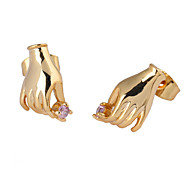 Gold plated bronze zircon stud Earrings ERZ0064 - Hand Shaped