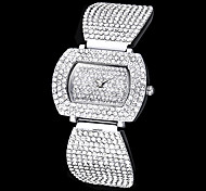 Women's Full Diamond Rectangle Dial Steel Band Quartz Analog Wrist Watch (Assorted Colors)