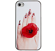 Mano d'invito con Rose Ring Pattern PC Hard Case con telaio nero per iPhone 4/4S