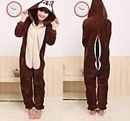 Kigurumi Pajamas Chipmunk / Mouse Leotard/Onesie Halloween Animal Sleepwear Brown Patchwork Coral fleece Kigurumi Unisex Halloween